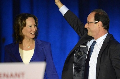 Ségolène Royal with François Hollande during the presidential campaign at Rennes, the 4th of April