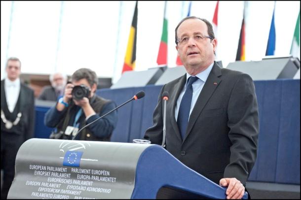 François Hollande, France's President, delivering his speech to the MEPs, at Strasbourg